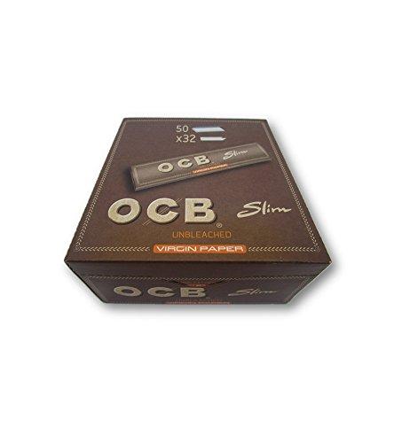 OCB Virgin Unbleached King Size Slim Rolling Papers Papiers à rouler Papiers à Cigarettes Feuilles à fumer Pack de 50 livrets from SUDESH ENTERPRISES