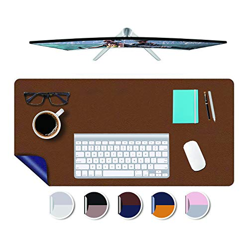 PU Leather Desk Blotter Mat 17x36' Multi-use Work Writing Laptop Computer Kids Drawing Table Protector Cover Pad Easy Clean Waterproof Double Sides Desktop Organizer Under Keyboard Brown/Dark Blue