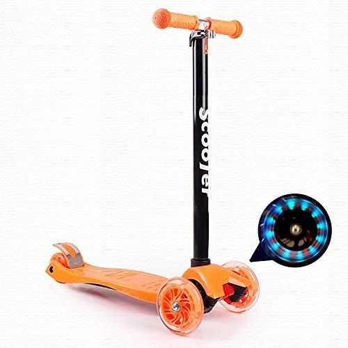 LABYSJ Scooters Plegables LED Brillantes, patineta para niños de 4 Ruedas, Bicicleta de Equilibrio, patineta Ajustable en Altura, Juguetes para niños, Regalos, 6-12 años, Carga 50 kg,Naranja