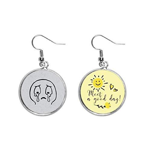Burst Into Tears Face Pattern Cartoon Ear Drop Sun Flower Earring Jewelry Fashion