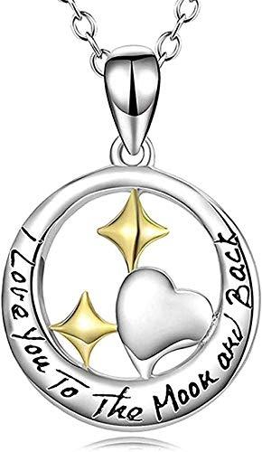 FACAIBA Collar Mujer Hombre Mujer S Collar S925 Joyería de Plata esterlina Anillo con Colgante de Estrella Collar de Amor Joyería de Mujer S