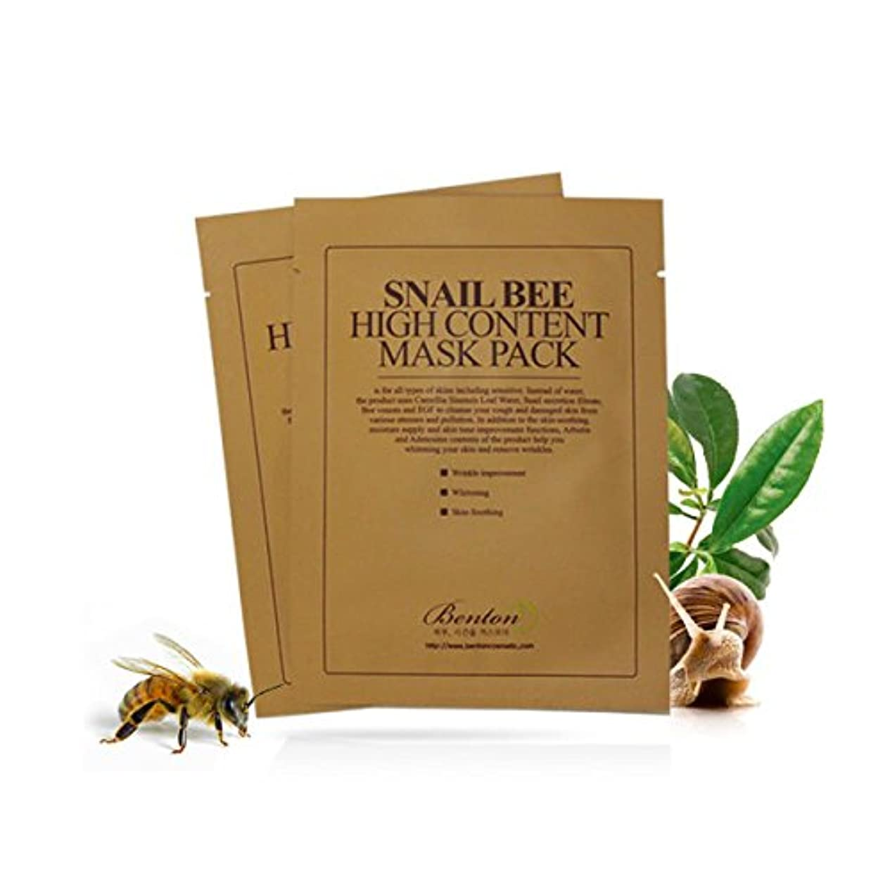 ユダヤ人被る優れた[ベントン] BENTON カタツムリ蜂の高いコンテンツ?マスクパック Snail Bee High Content Mask Pack Sheet 10 Pcs [並行輸入品]
