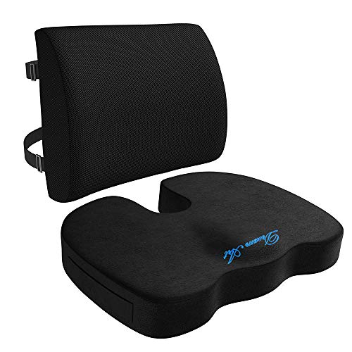DREAM ART Memory Foam Seat Cushion & Lumbar Support Back Cushion Combo - Orthopedic Design for Coccyx & Tailbone Pain - Can Help Sciatica - Perfect for Office Chair,Car and Wheelchair