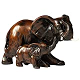 IYARA CRAFT Resin feng Shui Elephant Animal Statues - Decorative Elephant Family Statues on Wave - Ideal for Modern & Rustic Settings - Mother and Child of Elephant Animals Figurine Statue Sculpture