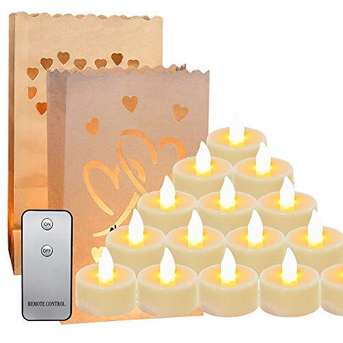 Set de Bolsas para Velas con Candelitas LED,Bolsas Papeles Decorativas para Velas,Vela LED Mando a distancia inalámbrico,Bolsa de linterna para Cumpleaños Halloween Día de San Valentín Bodas Cafetería