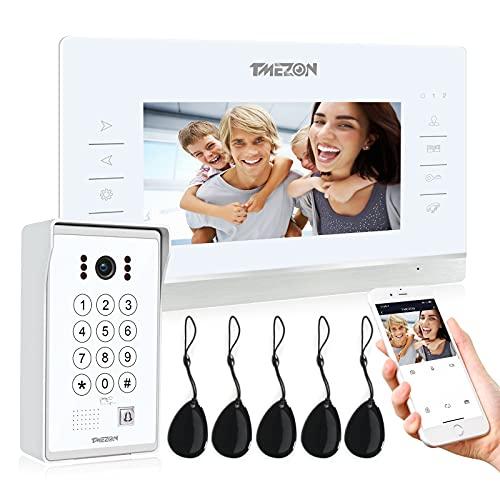 TMEZON WiFi IP Videoportero Sistema de intercomunicación,7 pantalla zoll y 1 timbre con cable, Desbloqueo de aplicación/contraseña/tarjeta/Monitor 4 en 1, Instantánea/Grabación,tecnología de 4 cables