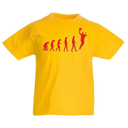 Kinder T-Shirt Evolution Basketball - Street Basket, ich Liebe Dieses Spiel, tolles Fan-Geschenk (9-11 Years Gelb Rote)