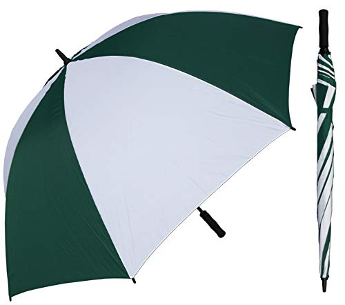 RainStoppers 68-Inch Oversize Windproof Golf Umbrella (Dark Green and White)