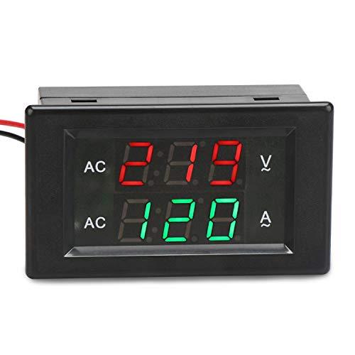 Voltímetro digital Amperímetro, Droking AC 500V 200A Multímetro 0,39 pulgadas Indicador de amperímetro de panel LED con transformador de corriente monitor digital de 2 cables Medidor de voltios Tester