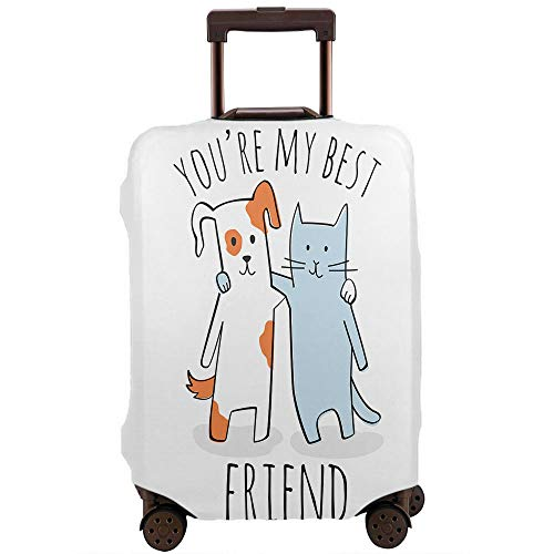Moslion Dog Cat Travel Luggage Protector Cute Cartoon Animal Kitten Doggy Best Friend Suitcase Covers L Fit for 25-28 Inch Suitcase Black White Blue