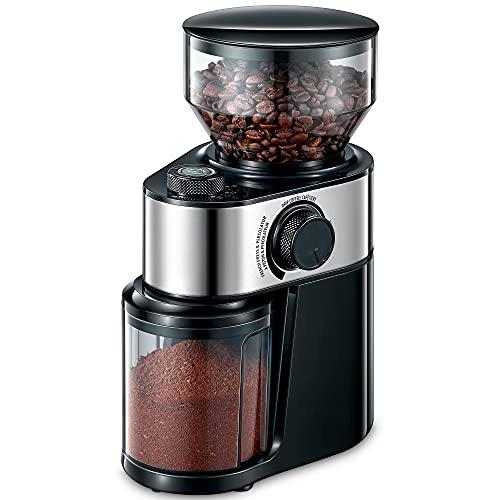 Kaffeemuhle Elektrisch, 200W Kaffeemuhle Edelstahl Scheibenmahlwerk, Elektrische Kaffeemühle mit One-Touch-Mahlsystem, kontrollierbare Mahlstärke, 14 Tassen und 250g Fassungsvermögen.