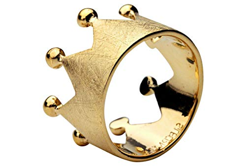 SILBERMOOS Damen Ring Krone Kronenring gebürstet elegant vergoldet Sterling Silber 925, Größe:56 (17.8)