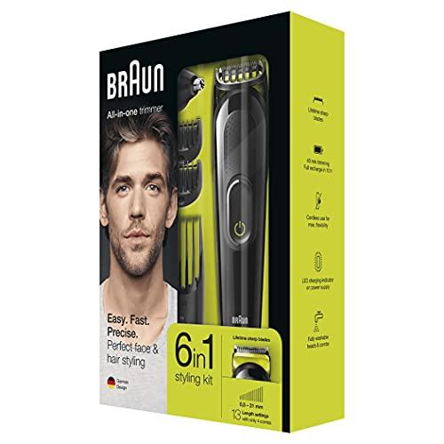 Braun 6-in-1 Trimmer MGK3021, Barttrimmer und Haarschneider, Schwarz/Grün