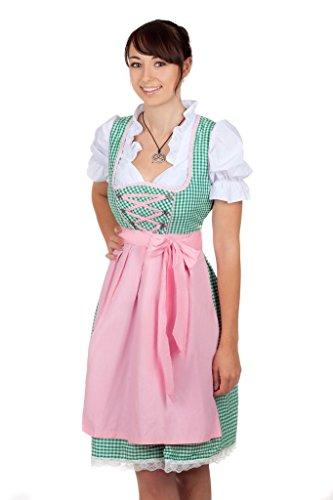 Sexy Mini Dirndl 3-tlg. in grün kariert mit weißer Bluse und rosa Gr. 44