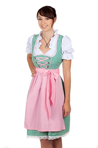 Sexy Mini Dirndl 3-tlg. in grün kariert mit weißer Bluse und rosa Gr. 38