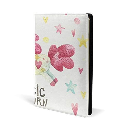 Libreta de piel con diseño de unicornio mágico de acuarela para la escuela, oficina, cuadernos de texto, cuaderno de tapa dura A5 de 5.8 x 8.7 pulgadas para niñas y niños