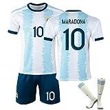 LICHENGTAI 1986 Maradona Trikot, Maradona Trikot Argentinien, 1920 Maradona Jersey, Argentinien Retro-Trikot, Nr. 10 Maradona Shirt, Jersey mit Socken, Tribut an Fußballhelden