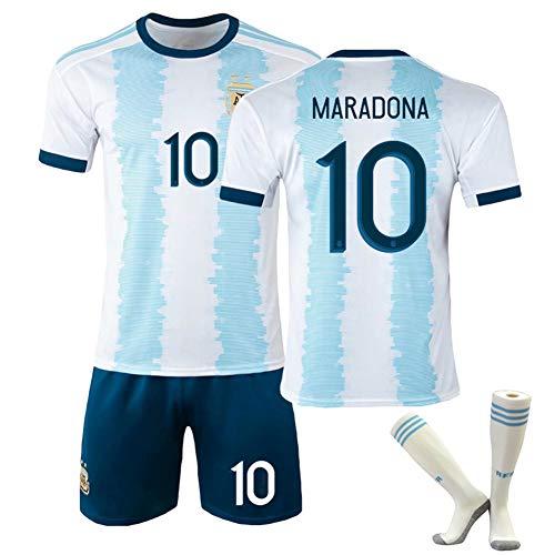 Rongchuang 1986 Argentinisches Fußballtrikot, Maradona Nr. Klassischer Retro-Trainingsanzug Der 10 Nationalmannschaft mit Fußballsocken-Gedenktrikot