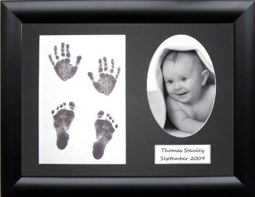 Anika-Baby Kit d'empreintes de pieds et de mains de bébé avec cadre à passe-partout 3 ouvertures dont une ovale 0-3 ans Noir