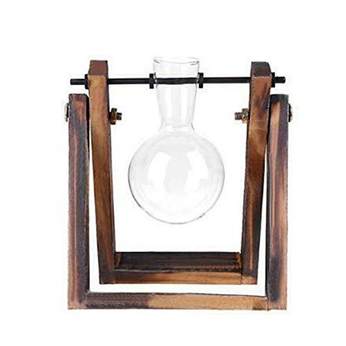 Glazen en houten vaas Planter Terrarium Tafel Desktop Hydrocultuur Plant Bonsai Bloempot Hangpotten met houten dienblad Home Decor, A