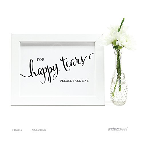 Andaz Press Wedding Framed Party Signs, Formal Black and White, 5x7-inch, For Happy Tears Tissue Kleenex Ceremony Sign, 1-Pack, Includes Frame