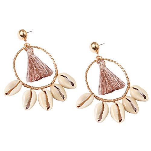 Fransande Pendientes de borla de abanico para mujer – Pendientes bohemios de aro de abanico pendientes de gota con concha rosa