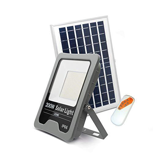 LEDUNI Foco LED Solar Exterior 200W Negro 18000LM IP66 Impermeable Luz Blanca 6000K Ángulo 120º...