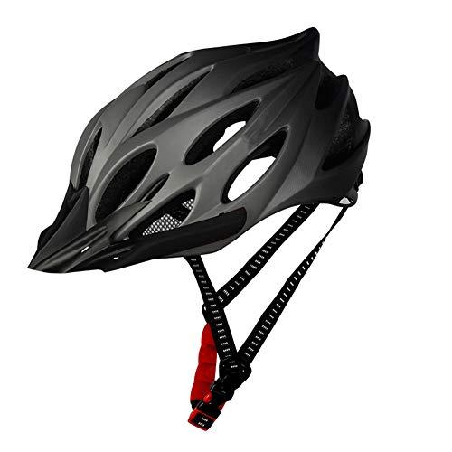 Cycling Helmet Adult Comfortable Lightweight Bike Helmet Bicycle Helmet with Taillight Adjustable for Men Women (Grey, Suitable for Head Circumference (56-62cm), Head Width 18.5cm)