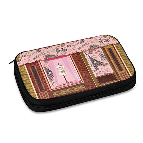 Paris Window Electronic Organizer Small Travel Cable Organizer Bag for Hard Drives,Cables,Charger,Phone,USB,Sd Card