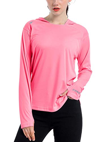 Women's UPF 50+ UV Sun Protection Hoodie Shirt Dry Fit SPF Long Sleeve Outdoor Performance Fishing Hiking Shirts(Pink,L)