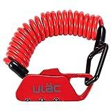 ULAC(ユーラック)自転車 ロック 鍵 ワイヤーロック ロードバイク ベビーカー バイク サドルロック 軽量 携帯便利 盗難防止 四つ色(赤)