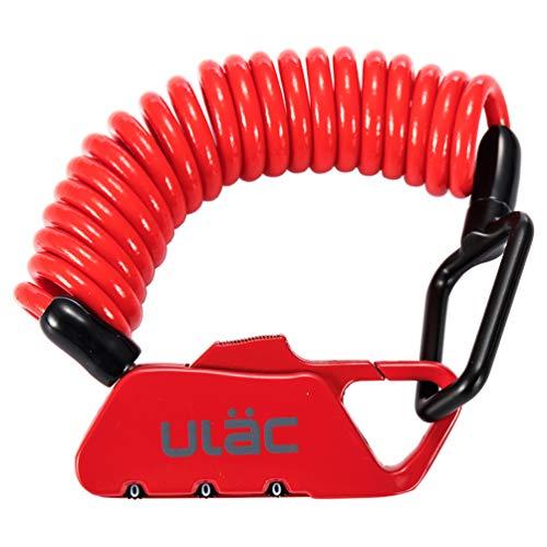 ULAC 自転車 鍵 ワイヤーロック ダイヤル チェーンロック ベビーカー バイク サドルロック 軽量 携帯便利 盗難防止 長さ1200mm 四つ色(赤)
