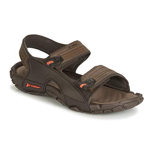 Rider Men's Tender Textile Hook & Loop Sandal Brown-Brown-10 Size 10