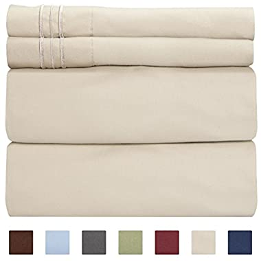 Queen Size Sheet Set - 4 Piece Set - Hotel Luxury Bed Sheets - Extra Soft - Deep Pockets - Easy Fit - Breathable & Cooling - Wrinkle Free - Comfy – Beige Tan Bed Sheets - Queens Sheets – 4 PC