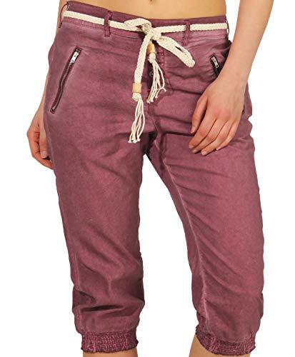 Sublevel Damen Dreiviertel Capri Shorts Hose LSL-328/334 Washed-Look inklusive Gürtel Mauve Rose S