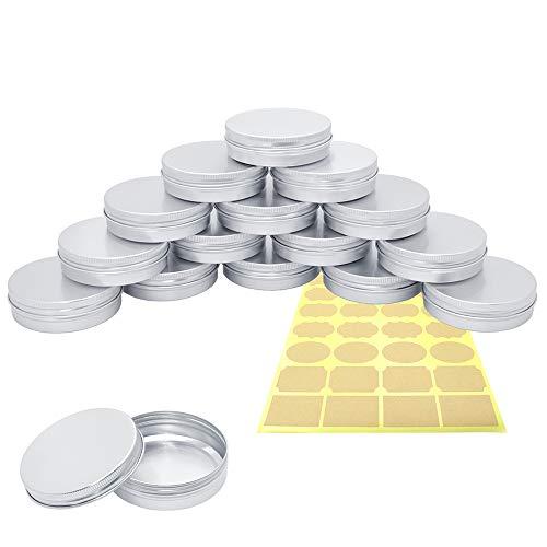 15-teilige Aluminium-Blechdosen mit Schraubdeckel, PUDSIRN 100 ml runde Aluminium-Blechdosen Leere Kosmetikbehälter mit 1 Aufkleber für Lippenbalsam, Lotion, Creme, Masken, Kerzen, Basteln