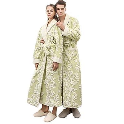 POQOQ Sleepwear Coat Women&Men Winter Lengthened Coralline Shawl Bathrobe Robe