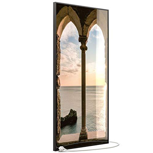 STEINFELD Heizsysteme® Glas Bild Wandheizung Infrarotheizung inklusive TS 20 Thermostat | Made in Germany | Motive 016H Fenster (750 Watt, schwarz)