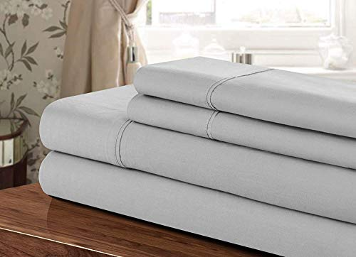 AMERICAN HIGH CLASS 1200TC 4-Piece Extra Deep Pocket, Sheet Set Fit Upto 24 Inches Deep Pocket, Emperor/Wyoming King Size (Silver Solid Color) 100% Egyptian Cotton
