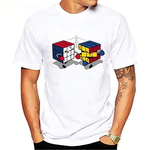 De Rubik Colorido Cubos Apilados Niños Jóvenes Camiseta Blanca del Rompecabezas del Cubo del Juego (Color : A-1, Size : S)