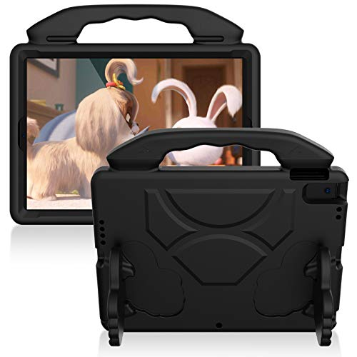 JCTek Funda compatible con iPad de 8ª generación 10.2 pulgadas 2020, Premium EVA resistente a los golpes, peso ligero, con agarre y soporte para iPad 7ª generación 10.2 pulgadas 2019 (Negro)