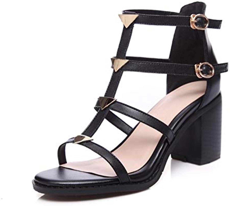 HOESCZS Frauen Echtes Leder Platz High Heels Metall Dacoration Knöchelriemen Schuhe Frau Casual Rom Sandalen Größe 34-40,  | Mittlere Kosten