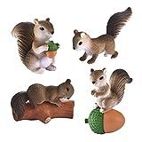SM SunniMix 4 Piezas de Figuras de Ardilla para Niños, Juguetes de Animales, Adornos para Tartas para Navidad, Regalo de Cumpleaños, Decoración de Escritorio - Gris