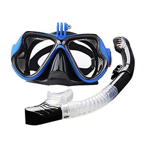 Lentes Profesionales Gafas De Natación para Hombres Gafas Niños Tubo Snorkel Tubo Impermeable Silicona Mascarilla Niños -Buceo (Color : Blue)