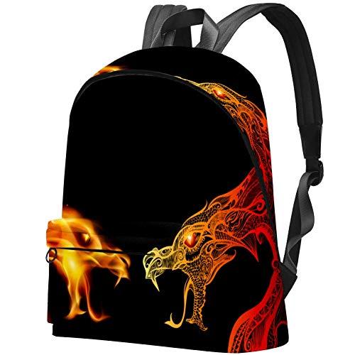 Studenten-Bookbag für 39,62 cm (15,6 Zoll) Notebook Rucksack, Reisen, Outdoor, Tagesrucksack, College, Schultasche, 2 Drachen-Köpfe im Feuer