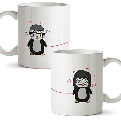 MUGFFINS (Pack 2 tazas) Tazas San Valentín - Pingüinos - Regalos Originales y Divertidos de Aniversario para Novios, Enamorados, Pareja.