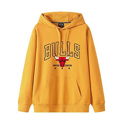 Chicago Bulls Tres campeones consecutivos suéter conmemorativo Sudadera de Baloncesto Chaqueta de Manga Larga suéter con Capucha otoño e Invierno Yellow-S
