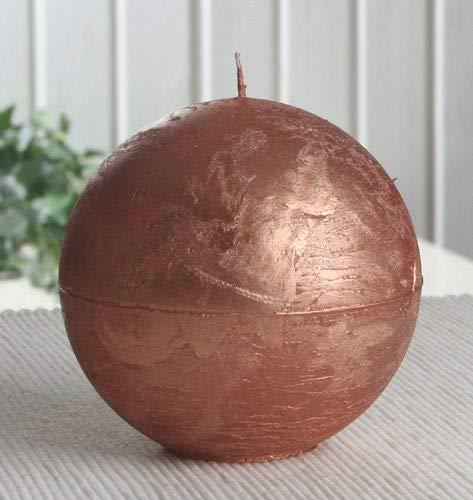 Rustik-Kugelkerze, 10 cm Ø, Kupfer-metallic