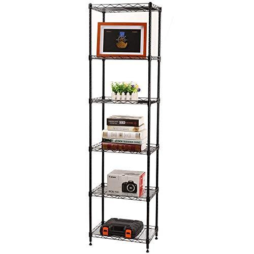 YOHKOH 6 Wire Shelving Steel Storage Rack Adjustable Unit Shelves for Laundry Bathroom Kitchen Pantry Closet 166 Width x 63 Height x 118 Depth Black