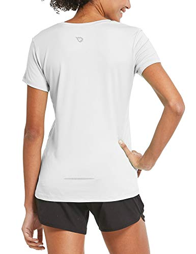 BALEAF Women's Athletic Short-Sleeved Running T-Shirts Dry Fit Workout Yoga Crewneck Tops White Size XL